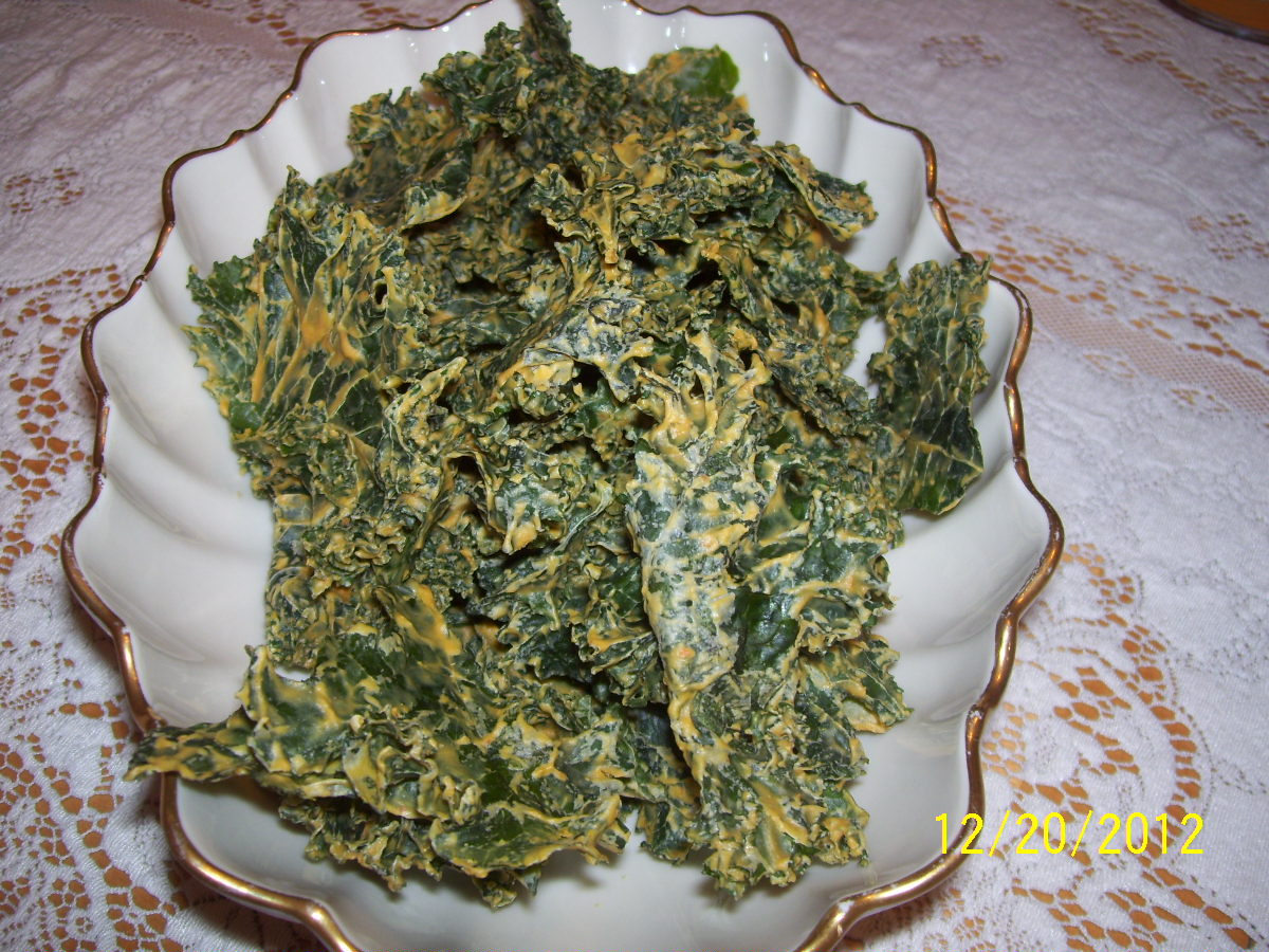 Finished Nacho Cheese Kale Chips
