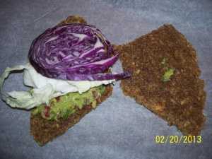 Assembling the Sandwich using cabbage instead of lettuce